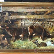 Arte: DARIO VILAS FERNANDEZ (BARCELONA, 1880 - 1950) OLEO SOBRE TELA. EN EL ESTABLO. Lote 26770109
