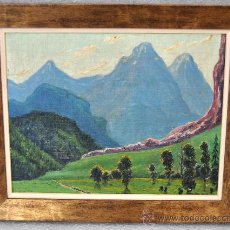 Arte: MARIÀ PIDELASERRA I BRIAS (BARCELONA, 1877-1946). OLEO SOBRE TELA. PAISAJE MONTAÑOSO. Lote 27280279
