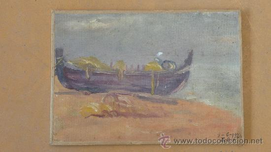 FIRMADO J.R.R. BARCA VARADA. OLEO SOBRE TELA ADHERIDO A TABLA. FECHADO 9/6/1924. (Arte - Pintura - Pintura al Óleo Moderna sin fecha definida)