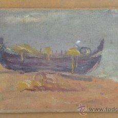 Arte: FIRMADO J.R.R. BARCA VARADA. OLEO SOBRE TELA ADHERIDO A TABLA. FECHADO 9/6/1924. . Lote 27002177