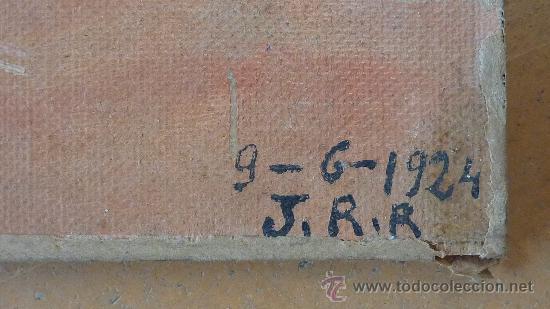 Arte: Firmado J.R.R. Barca varada. Oleo sobre tela adherido a tabla. Fechado 9/6/1924. - Foto 2 - 27002177