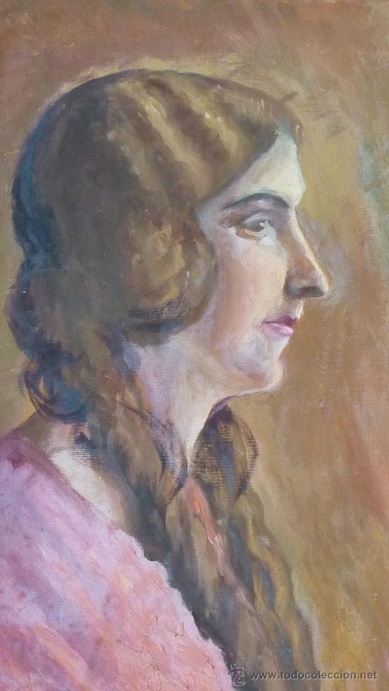 Arte: Anonimo oleo sobre tela. dama. De aproximadamente años 40s 50s. - Foto 2 - 27003451