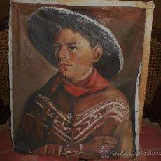 Arte: OLEO SOBRE LIENZO,MUCHACHO CON SOMBRERO. Lote 27198509