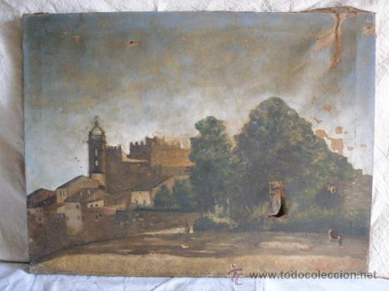 PAISAJE FIRMADO BEQUER DE FINALES DEL XIX PARA RESTAURAR (Arte - Pintura - Pintura al Óleo Moderna siglo XIX)