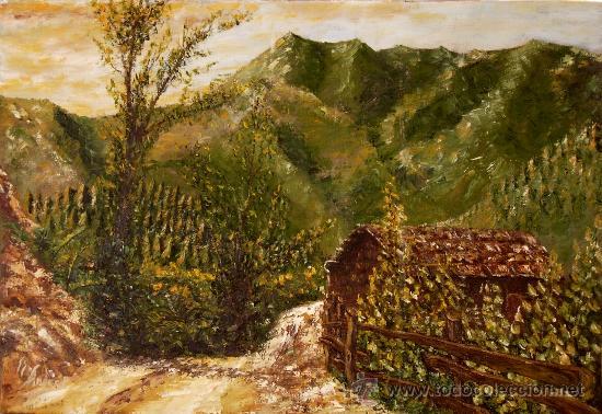 CAMINO DE LAS TERCIES (ASTURIAS) ÓLEO DE S.S.ANDRÉS (Arte - Pintura Directa del Autor)