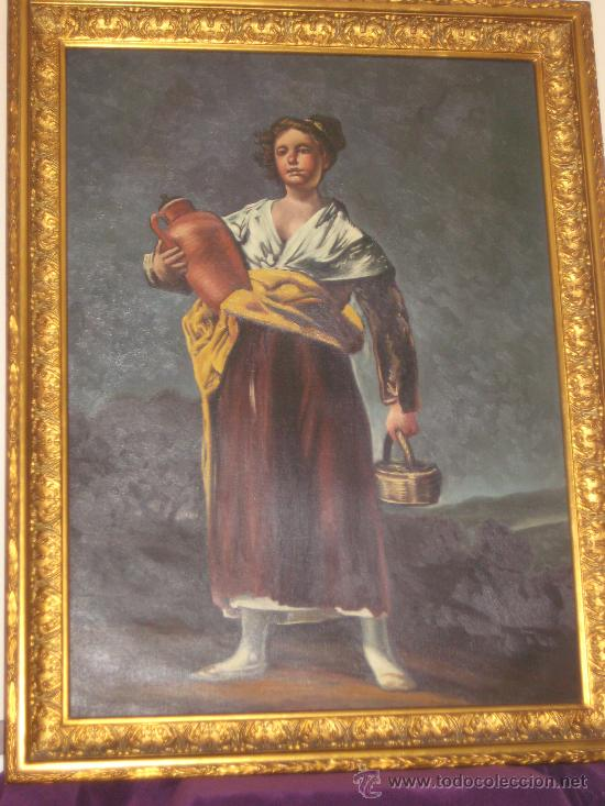 CUADRO DE PINTURA AL OLEO SOBRE LIENZO (LA AGUADORA DE GOYA REPLICA AÑOS 60 ) (Arte - Pintura - Pintura al Óleo Contemporánea )