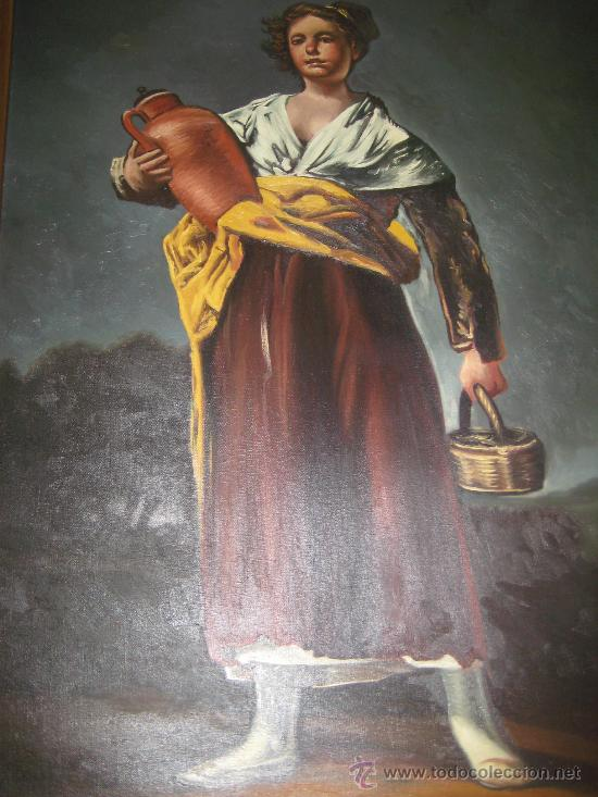 Arte: CUADRO DE PINTURA AL OLEO SOBRE LIENZO (LA AGUADORA DE GOYA REPLICA AÑOS 60 ) - Foto 8 - 54142666