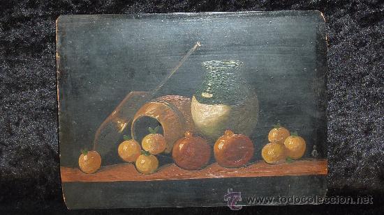ANONIMO OLEO SOBRE PLANCHA. BODEGON DE AÑOS 40S. (Arte - Pintura - Pintura al Óleo Moderna sin fecha definida)