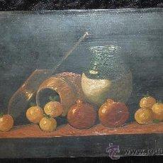 Arte: ANONIMO OLEO SOBRE PLANCHA. BODEGON DE AÑOS 40S. . Lote 28081608