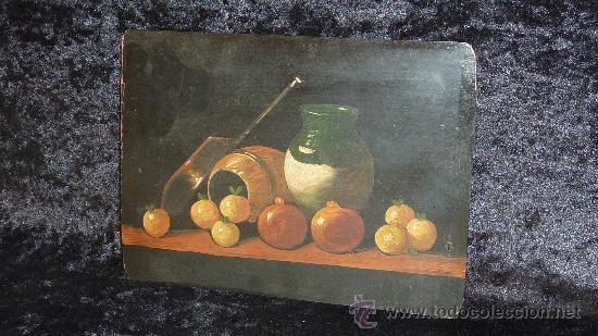 Arte: Anonimo oleo sobre plancha. Bodegon de años 40s. - Foto 2 - 28081608
