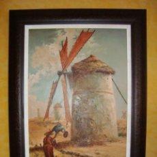 Arte: PINTURA AL OLEO, DON QUIJOTE DE LA MANCHA, CERVANTES,RICARDO BALACA. MOLINO.LA MANCHA. Lote 28058784
