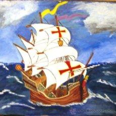 Arte: CARABELA DE COLÓN - PINTURA SOBRE CARTÓN SIN FIRMA. Lote 28194597