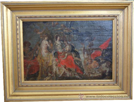 PINTURA ALEGÓRICA - BOCETO PREVIO PARA OBRA MAYOR - ÓLEO SOBRE LIENZO - S. XVII (Arte - Pintura - Pintura al Óleo Antigua siglo XVI)
