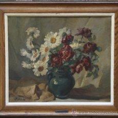 Arte: BODEGÓN DE FLORES, FIRMADO: BAS FERRER, 1948. ÓLEO SOBRE LIENZO, MARCO: 60X89 CM.. Lote 28530321