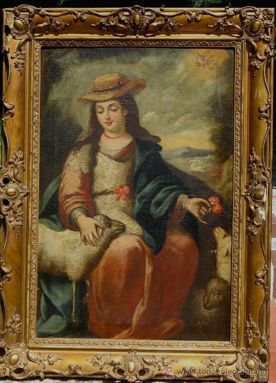 DIVINA PASTORA. ÓLEO SOBRE LIENZO -S. XVIII, ESCUELA SEVILLANA ANÓNIMO. (Arte - Pintura - Pintura al Óleo Antigua siglo XVIII)
