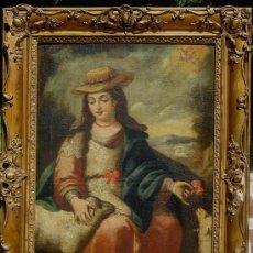 Arte: DIVINA PASTORA. ÓLEO SOBRE LIENZO -S. XVIII, ESCUELA SEVILLANA ANÓNIMO. . Lote 28569017