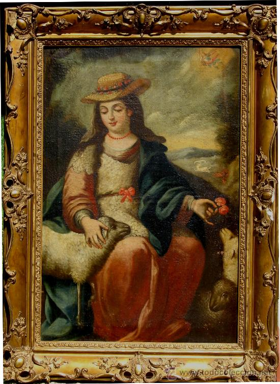 Arte: Divina Pastora. ÓLEO Sobre LIENZO -S. XVIII, Escuela Sevillana ANÓNIMO. - Foto 4 - 28569017