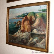 Arte: PINTURA AL OLEO SOBRE TABLA DE J.RICART 1950 MD. 48X42 CM. PUNTA PRIMA S'AGARO GIRONA. Lote 28765251