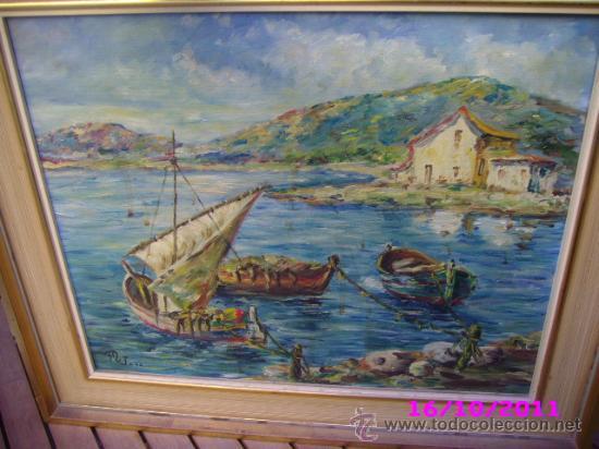 PINTURA MARINA OLEO SOBRE LIENZO FIRMADO M JOSE (Arte - Pintura - Pintura al Óleo Moderna sin fecha definida)