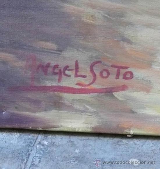 Arte: Ángel Soto. Paisaje, óleo sobre lienzo sin marco, 73x93 cm. - Foto 3 - 29065660