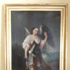 Arte - Cuadro óleo lienzo San Rafael Arcangel Siglo XIX - 62798218