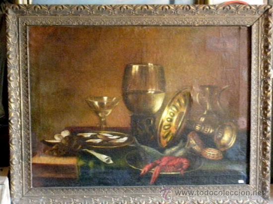 BODEGON DEL XIX SIGUIENDO MODELOS DE WILLEM CLAESZ HEDA (Arte - Pintura - Pintura al Óleo Moderna siglo XIX)