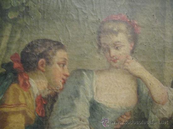 CUADRO FRANCES AL OLEO CON ESCENA GALANTE FINALES DEL S. XVIII Y PRINCIPIOS DEL S. XIX (Arte - Pintura - Pintura al Óleo Antigua siglo XVIII)