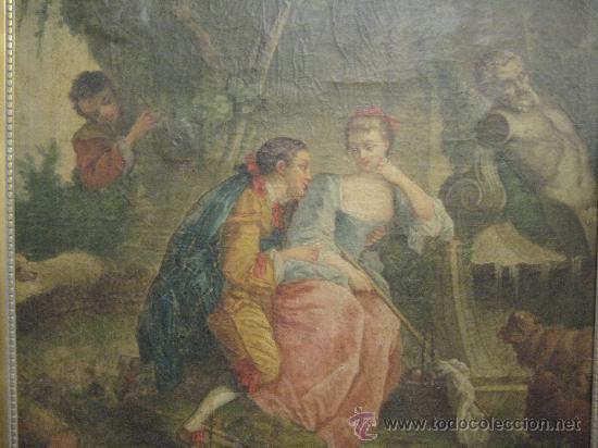 Arte: cuadro frances al oleo con escena galante finales del s. XVIII y principios del S. XIX - Foto 2 - 29220253