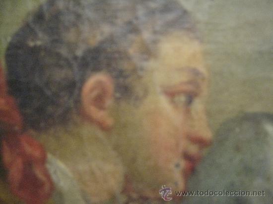 Arte: cuadro frances al oleo con escena galante finales del s. XVIII y principios del S. XIX - Foto 7 - 29220253