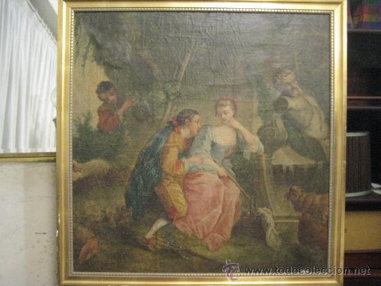 Arte: cuadro frances al oleo con escena galante finales del s. XVIII y principios del S. XIX - Foto 9 - 29220253