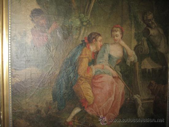 Arte: cuadro frances al oleo con escena galante finales del s. XVIII y principios del S. XIX - Foto 10 - 29220253