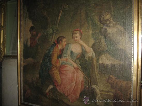 Arte: cuadro frances al oleo con escena galante finales del s. XVIII y principios del S. XIX - Foto 11 - 29220253