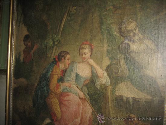 Arte: cuadro frances al oleo con escena galante finales del s. XVIII y principios del S. XIX - Foto 12 - 29220253