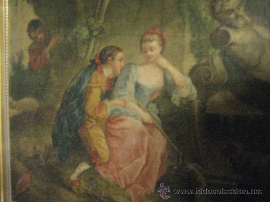 Arte: cuadro frances al oleo con escena galante finales del s. XVIII y principios del S. XIX - Foto 13 - 29220253