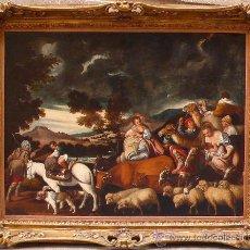 Arte: TALLER DE PEDRO ORRENTE ( 1580-1645). PARTIDA DE JACOB CON SUS REBAÑOS, ÓLEO SOBRE LIENZO 88X119 CM.. Lote 48927457