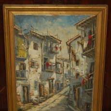Arte: ANÓNIMO DE LOS AÑOS 40. VISTA DE CALLE. OLEO SOBRE TELA. Lote 29313430