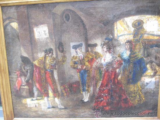TEMA TAURINO. OLEO SOBRE LIENZO FINALES DEL SIGLO XIX . ANONIMO (Arte - Pintura - Pintura al Óleo Moderna siglo XIX)