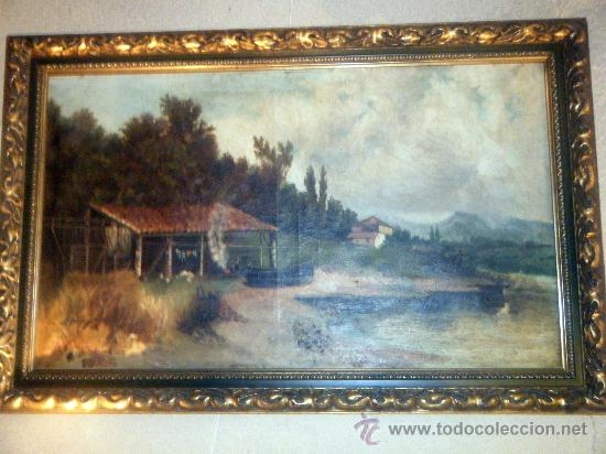 OLEO SOBRE LIENZO PAISAJE FIRMADO V. GOÑI (Arte - Pintura - Pintura al Óleo Moderna sin fecha definida)