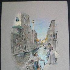 Arte: EXCELENTE ESCENA VENECIANA EN PASTEL FIRMADA Y FECHADA POR EL COTIZADO PINTOR P.B. ADNAMS 1926. Lote 29379933