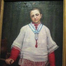 Arte: RETRATO DE MONAGUILLO ATRIBUIDO AL PINTOR CATALAN BALDOMERO CALOFRE ( OLEO SOBRE CARTON PIEDRA ). Lote 29457824