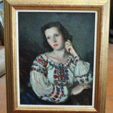 Arte: FRANCESC SERRA CASTELLET (GRANOLLERS,1912-1976) OLEO SOBRE TELA. RETRATO FEMENINO. Lote 29796371