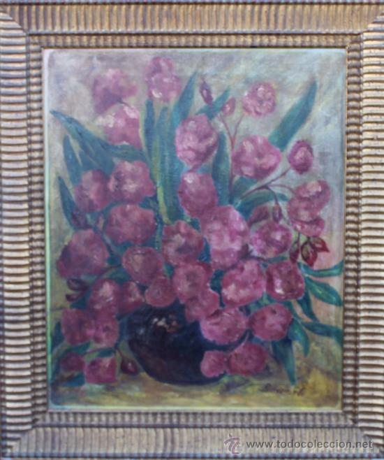 MALAGA FLORES OLEO SOBRE LIENZO FIRMADO BARRIONUEVO (Arte - Pintura - Pintura al Óleo Contemporánea )