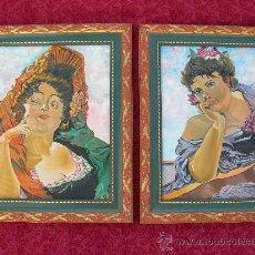 Arte: BONITA PAREJA DE CUADROS PINTADOS AL OLEO CON FIGURAS DE MUJER, SON MUY ORIGINALES. Lote 29890230
