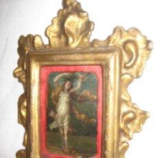 Arte: PEQUEÑA MINIATURA PINTADA AL OLEO SOBRE COBRE DEL SIGLO XVII, REPRESENTADO A LA NINFA DAFNE. Lote 29962528