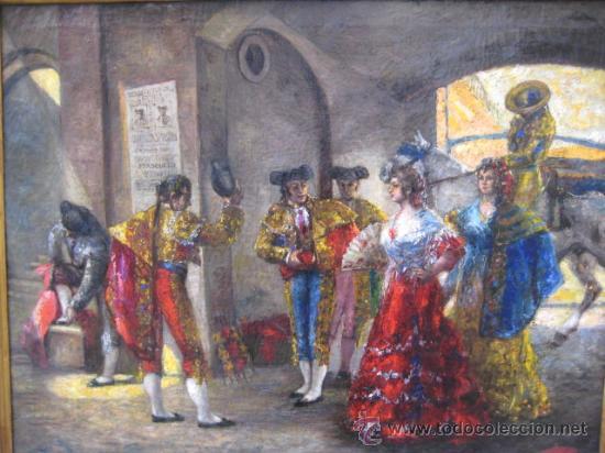 Arte: Tema taurino. Oleo sobre lienzo finales del siglo XIX . Anonimo - Foto 12 - 29270266