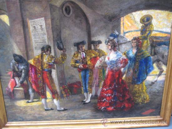 Arte: Tema taurino. Oleo sobre lienzo finales del siglo XIX . Anonimo - Foto 21 - 29270266