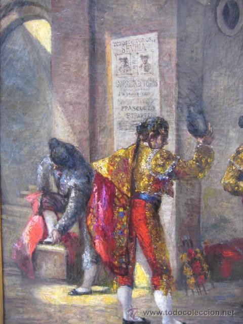 Arte: Tema taurino. Oleo sobre lienzo finales del siglo XIX . Anonimo - Foto 13 - 29270266