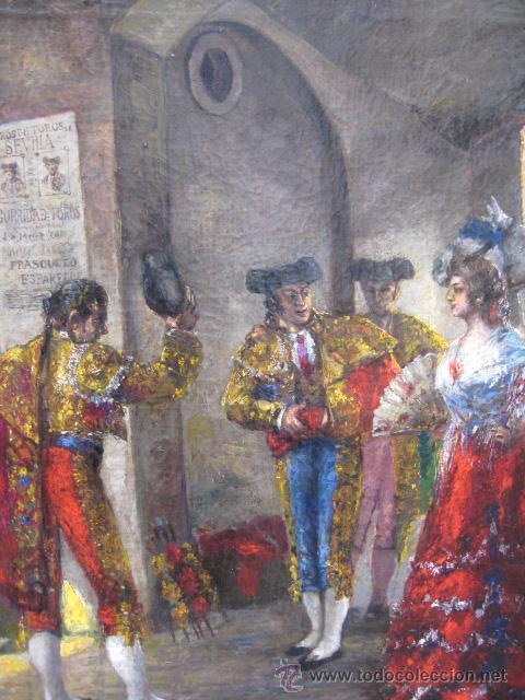 Arte: Tema taurino. Oleo sobre lienzo finales del siglo XIX . Anonimo - Foto 15 - 29270266