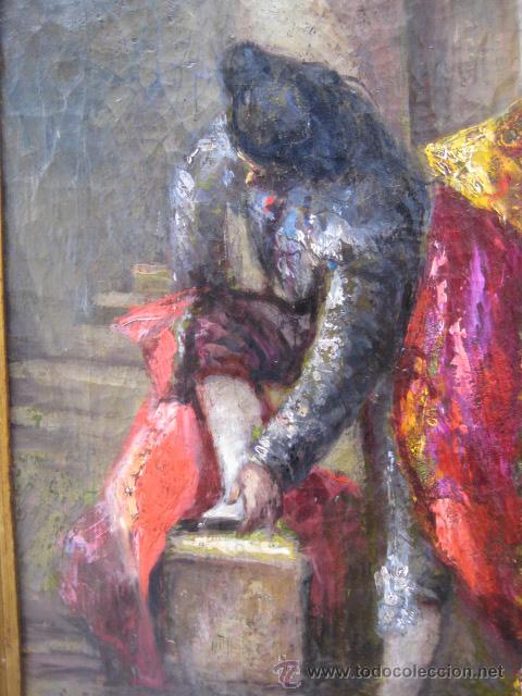 Arte: Tema taurino. Oleo sobre lienzo finales del siglo XIX . Anonimo - Foto 16 - 29270266