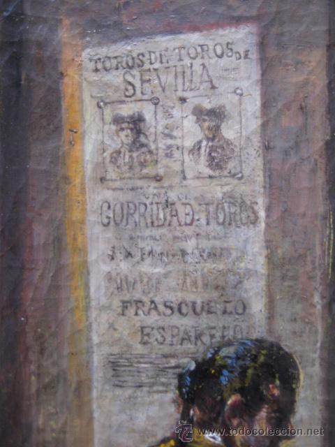 Arte: Tema taurino. Oleo sobre lienzo finales del siglo XIX . Anonimo - Foto 17 - 29270266